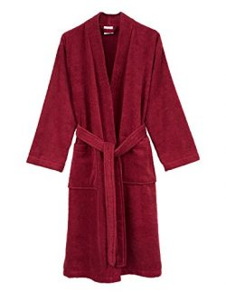 TowelSelections Men's Robe, Turkish Cotton Terry Kimono Bathrobe Large/X-Large Deep Claret