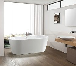 Vanity Art Bath Free Standing Acrylic Bathtub 67.7″Wx32.3″Dx23.6″H VA6812