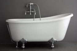 54″ Hotel Collection Swedish Slipper CoreAcryl Acrylic Clawfoot Bath Tub & Faucet Pack ...