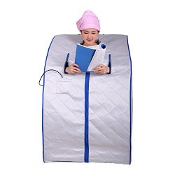 ALEKO PIN11SB Personal Folding Portable Home Infrared Sauna w/ Folding Chair and Foot Pad, Silve ...