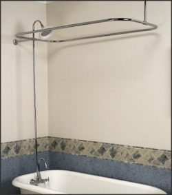Satin Nickel Add-on Shower Set for Clawfoot Tub – Gooseneck Faucet, Riser, and Shower Rod