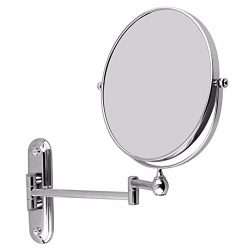Wall Mounted 8″ Extending Folding Mirror Double Side Cosmetic Make up Bathroom Mirror 10x  ...