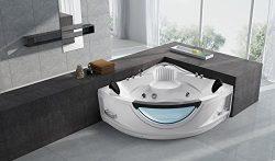 Empava 59″ Luxury 2 Person Hydromassage Corner SPA Tub Freestanding Jacuzzi Bathtub EMPV-JT319