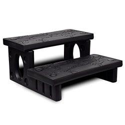 Patio Black Plastic Spa Hot Tub Reversible Treads Steps Non-Slip Multipurpose Outdoor Living Pools