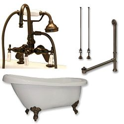 67″ Acrylic Slipper Clawfoot Tub & Complete Deck Mount Gooseneck Plumbing Package in O ...