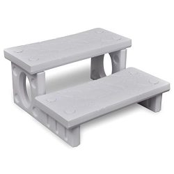 Outdoor Patio Plastic Non-Slip Spa Steps Reversible Multipurpose, White