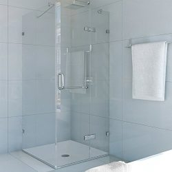 VIGO Monteray 36 x 36-in. Frameless Shower Enclosure with .375-in. Clear Glass and Chrome Hardware