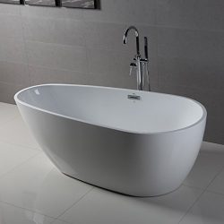 FerdY Freestanding Bathtub, Soaking Bath Tub, Stand Alone Tub for Bathroom, Contemporary Style,  ...