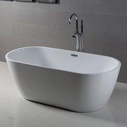 FerdY Bathroom Freestanding Acrylic Soaking Bathtub White Color