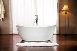 Modern Curved Design Pedestal Indoor Soaking Bathtub with Floor Faucet