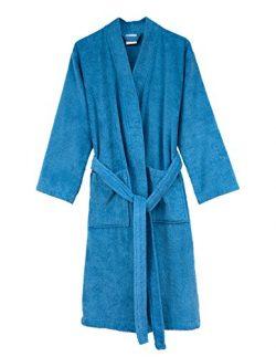 TowelSelections Men's Robe, Turkish Cotton Terry Kimono Bathrobe Medium/Large Heritage Blue