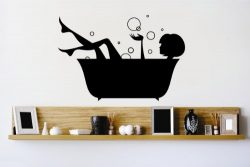 Vinyl Wall Decal Sticker : Bathtub Girl Woman Bubbles Water Clean Bathroom Bedroom Bathroom Livi ...