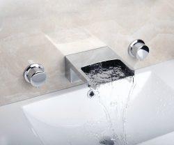 Yanksmart Double Handles Three Holes Bathroom Tub Faucet Wall Mounted Tap Mixer Set MH367