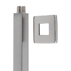 Ceiling Mount Square Shower Arm with flange cover by Serene Steam (6 Inch, Brushed Satin)