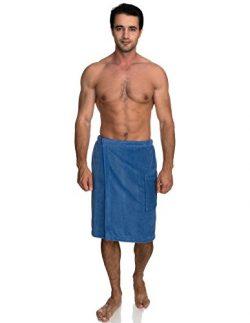 TowelSelections Cotton Terry Velour Bath Towel Shower Wrap for Men Large/X-Large Dutch Blue