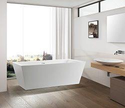 "Vanity Art Bath Free Standing Acrylic Bathtub 66.9""Wx31.5""Dx23.6""H VA6814-L"