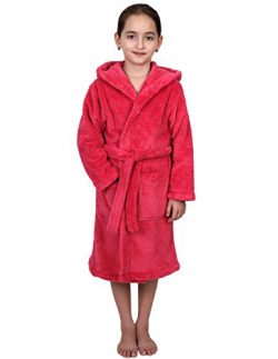 TowelSelections Big Girls' Robe, Kids Plush Hooded Fleece Bathrobe Size 10 Hot Pink