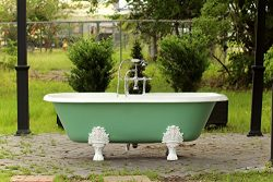 "Double Ended 72"" Antique Inspired Arsenic Green Cast Iron Porcelain Clawfoot Bathtub Package Ori ..."