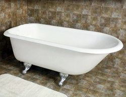 55″ Clawfoot Cast Iron Rolled Rim Bathtub with 7″ Faucet Hole Drillings & Brushe ...