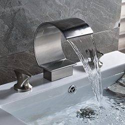 Rozin Deck Mounted 3 Holes Bathtub Faucet 2 Knobs Arc Spout Basin Mixing Tap Brushed Nickel