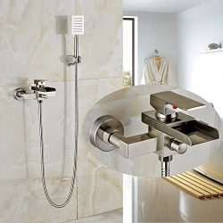 Rozin Wall Mounted Single Handle Bathtub Faucet tap Waterfall Spout with Handheld Shower Set Bru ...