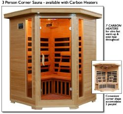 Sante Fe SA2412DX Infrared 3 Person Carbon Sauna with Bronze Tinted Tempered Glass Door Oxygen I ...