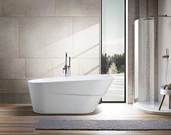 Vanity Art Free Standing Acrylic Bathtub White 66.9″Wx31.1″Dx26.8″H VA6521