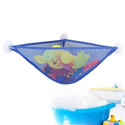WoSite Bath Toy Organizer with 3 Strong Suction Cups – Bath Toy Storage Net and Corner Sho ...