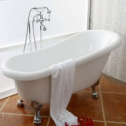 Decoraport 61 In Clawfoot Freestanding Bathtub – Acrylic White (DK-A-1912W)