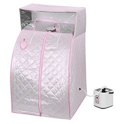 MD Group Portable Steam Sauna Tent 2L Pink Household Weight Loss Therapy Full Body Detox Massage