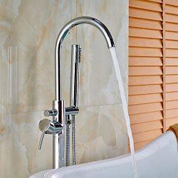 Votamuta New Chrome Polished Floor Mounted Bathtub Shower Faucets Set Free Standing Bathroom Sho ...