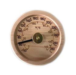 Engraved Cedar Round Sauna Thermometer C-F (4″ diameter)