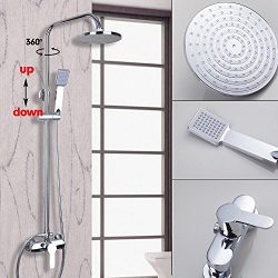OUBONI Wall Mounted Chrome Shower Faucet Set 8″Round Rain Shower Head Bathtub Mixer Tap