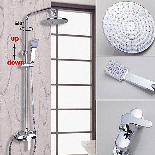 rain shower head bathtub. OUBONI Wall Mounted Chrome Shower Faucet Set 8\u2033Round Rain Head Bathtub Mixer Tap O
