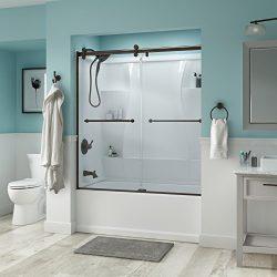 Delta Shower Doors SD3276666 Linden 60″ Semi-Frameless Contemporary Sliding Bathtub Door i ...