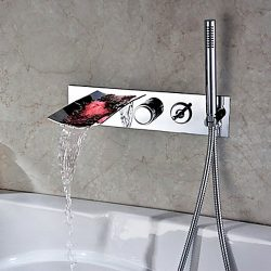 JinYuZe Luxury Wall Mounted Brass LED Waterfall Tub Filler Faucet With Handheld Shower(Composed  ...