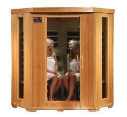 SA2420DX Tuscon Monticello 4 Person Infrared Sauna with 10 Carbon Heaters E-Z Touch Control Pane ...