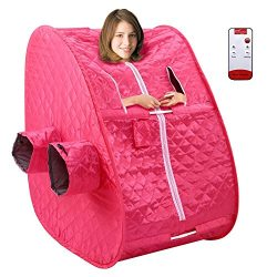 Portable 2L Steam Sauna Spa Full Body Slimming Loss Weight Detox Therapy Rose Red