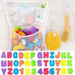 36 Bath Toys Letters & Numbers + The Original Toy Organizer by Tub Cubby + Quick Dry Storage ...