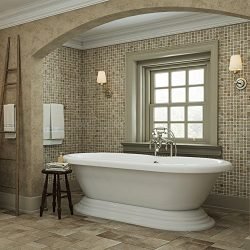 Luxury 60 inch Freestanding Tub with Vintage Tub Design in White, Includes Pedestal Base and Bru ...