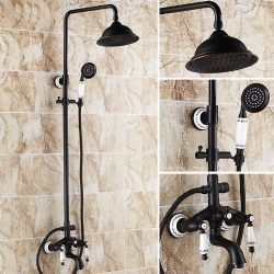 Rozin Oil Rubbed Bronze Bathtub Shower Faucet Set 8-inch Rainfall Shower Head + Hand Sprayer Por ...