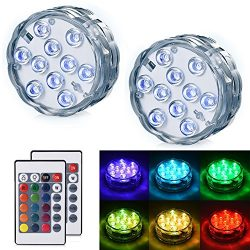 LEDGLE Submersible LED Light – Battery Operated Multi Color Changing Waterproof Decorated  ...
