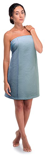 Women's Waffle Spa Body Wrap with Adjustable Velcro (One Size, Light Blue)