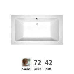 Jacuzzi-SIA7242 BCX XXX W Sia 72-Inch x 42-Inch x 24-Inch Luxury Soaking Bath with Center Drain  ...