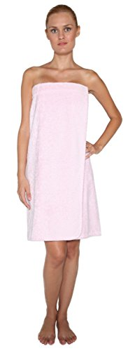 Arus Women's Organic Turkish Cotton Adjustable Closure Spa Shower and Bath Wrap L/XL Pink