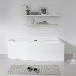 MAYKKE Encino 70″ Modern Rectanglar Acrylic Bathtub | Unique Corner Rim for Storage, Frees ...