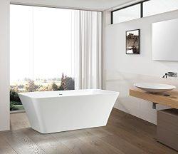 Vanity Art Free Standing Acrylic Bathtub 66.9″Wx29.5″Dx23.6″H VA6820