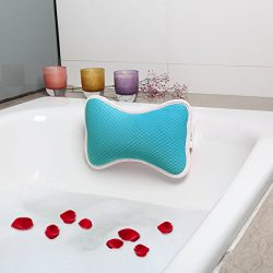 Bath Pillow for Tub, 2 Strong Suction Cups Spa Pillow Anti Bacterial Cushion, Home Spa Non Slip  ...