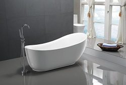 KIVA RHYME 71″ Freestanding Bathtub, 100% Pure Acrylic Soaking Bath Tub for Bathroom, cUPC ...