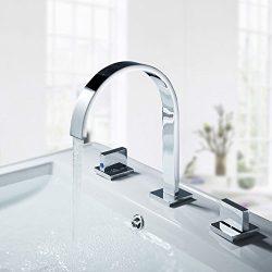 Auralum Two Handles Widespread Bathroom Waterfall Faucet Lavatory Sink Bathtub 3 Holes Faucet,Ch ...